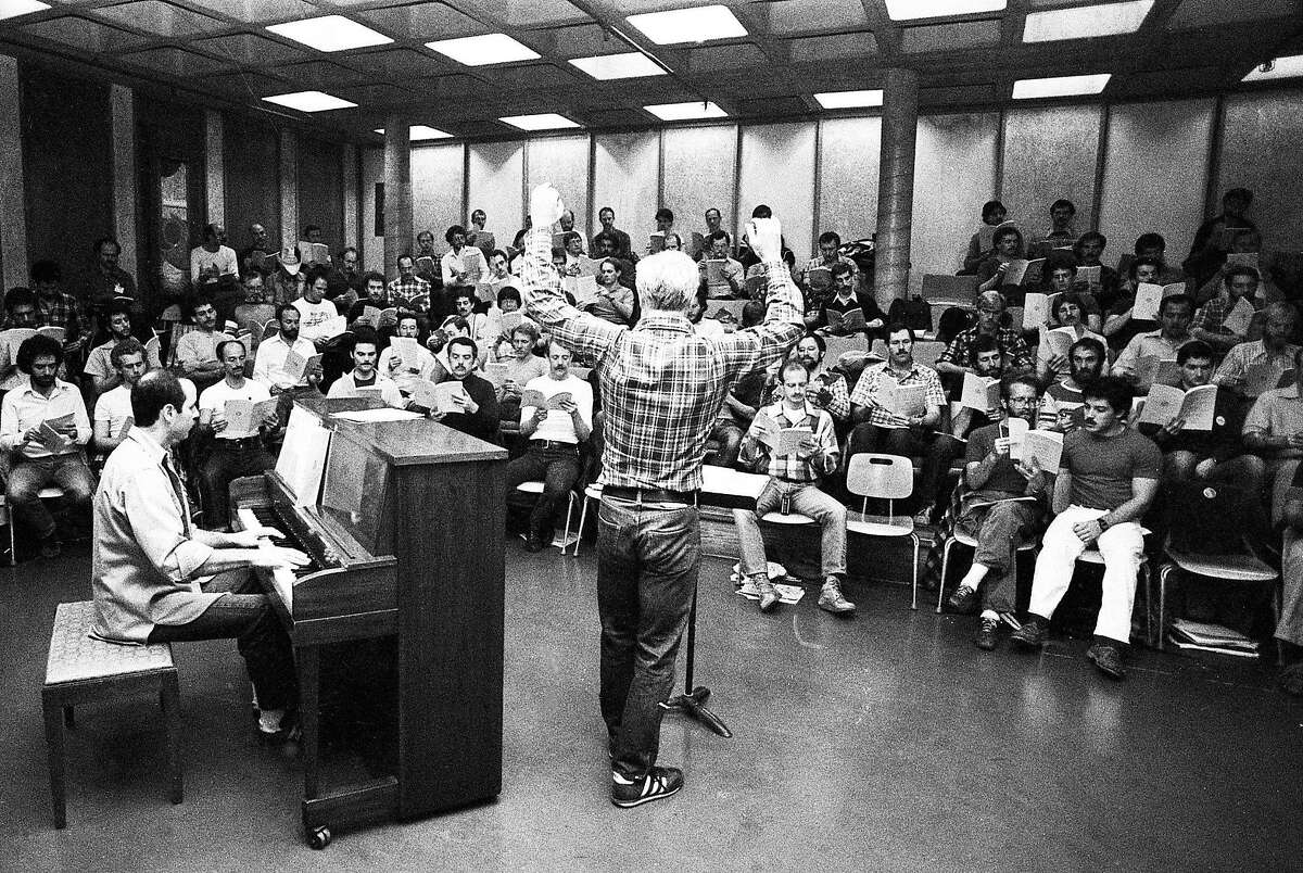 Feb. 23, 1981: Conductor Dick Kramer leads the San Francisco Gay Men's Chorus in preparation for their first national tour.