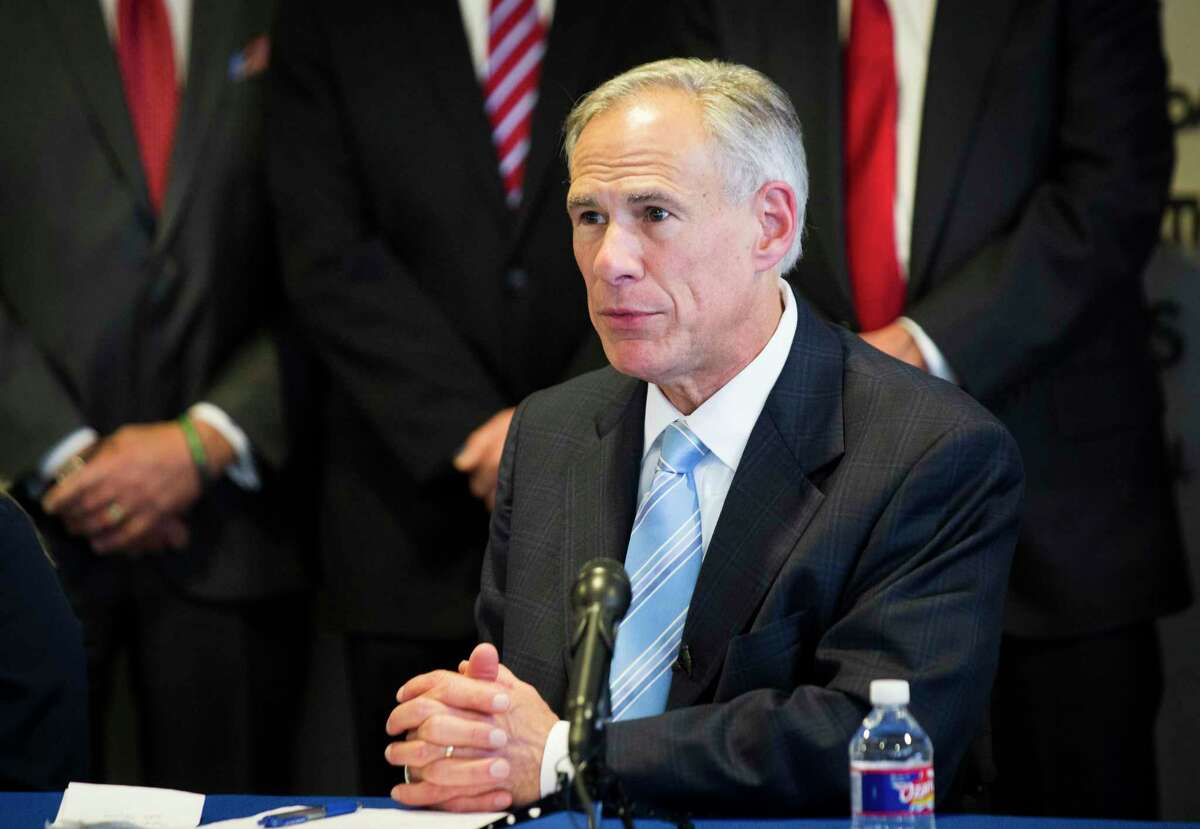 Texas Gov. Greg Abbott speaking about a proposal to increase enforcement and penalties for predators and purveyors of prostitution and human trafficking in February 2018 in Houston. This month, Abbott announced the creation of a new clemency application for human trafficking and domestic violence survivors. (Marie D. De Jesus / Houston Chronicle)