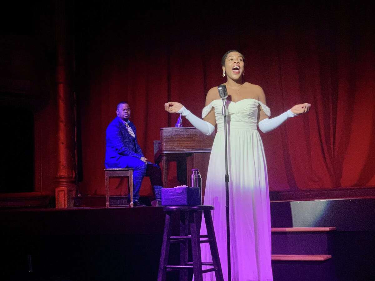 Gina Simone Pemberton as Billie Holiday and Brandon Jones as piano player Jimmy Powers in