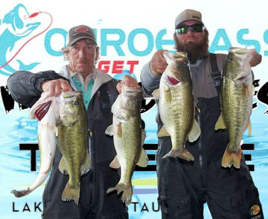 Gary and Jason Griffin came in first place in the CONROEBASS Weekend Series Tournament with a stringer weight of 23.98 pounds. Photo: Conroe Bass