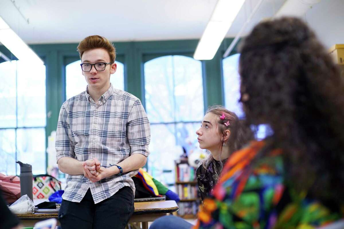 Questar III student and actor Matthew Joseph, from Shenendehowa High School, talks about his work on a PSA film about teen suicide, as fellow student and cinematographer Emma Rinaldi, right, from Troy High School looks on during an interview at The Arts Center on Wednesday, Feb. 26, 20202, in Troy, N.Y. (Paul Buckowski/Times Union)