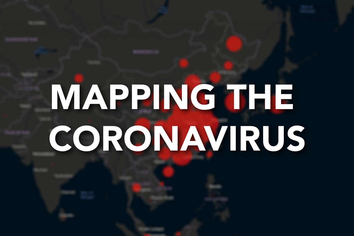 Maps show spread of coronavirus around the world.