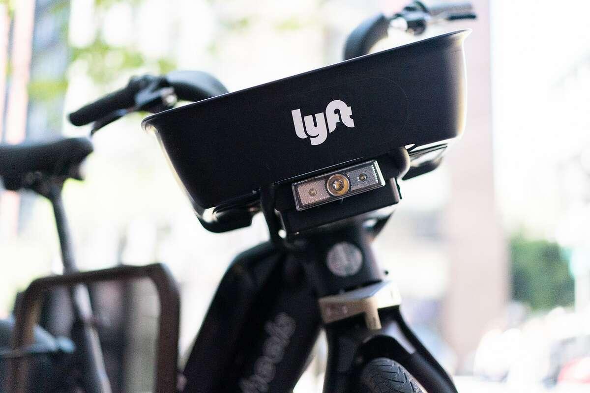 A Lyft bike locked on a public bike rack on Friday, July 19, 2019, in San Francisco, CA.
