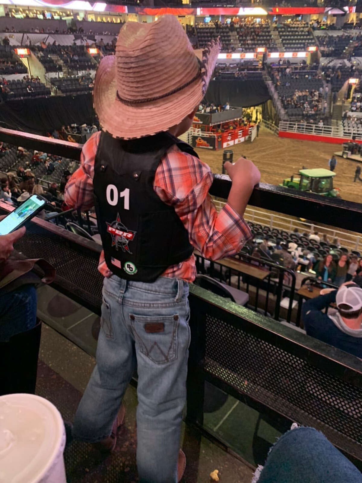 Rylin Castaneda, whose adorable toy bull-riding skills went viral in December, got a chance to experience rodeo action in real life and meet a bull rider at the San Antonio Stock Show and Rodeo.