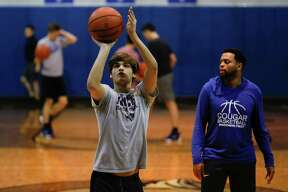 Brady Westmoreland shoots a free throw during basketball practice at Covenant Christian School, Tuesday, Feb. 25, 2020, in Conroe. The Cougars will compete in the TAPPS Class 2A state semifinals on Friday.