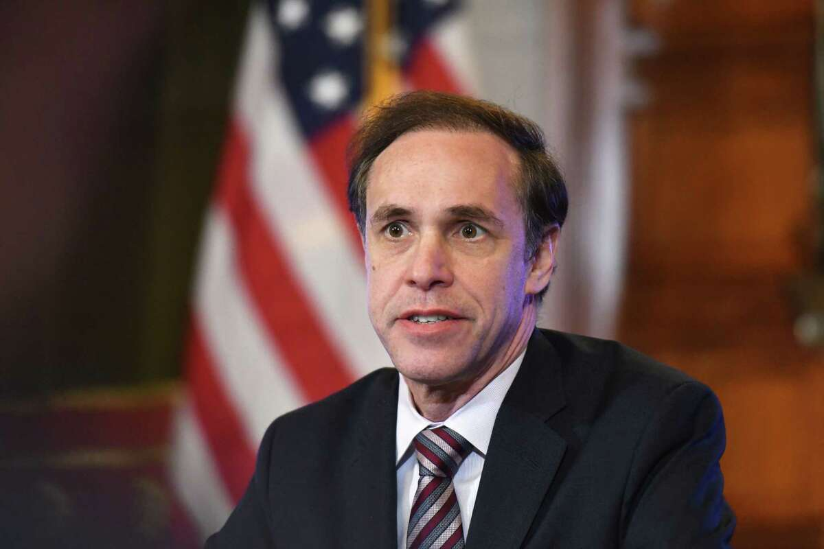 State Department of Health Commissioner Dr. Howard Zucker, joined Gov. Andrew Cuomo and other state officials, during a media briefing on state plans to handle a potential coronavirus outbreak on Wednesday, Feb. 26, 2020, at the Capitol in Albany, N.Y. (Will Waldron/Times Union)