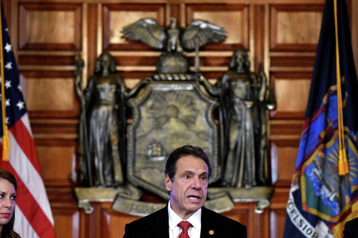 Gov. Andrew Cuomo holds a media briefing on state plans to handle a potential coronavirus outbreak on Wednesday, Feb. 26, 2020, at the Capitol in Albany, N.Y. (Will Waldron/Times Union)