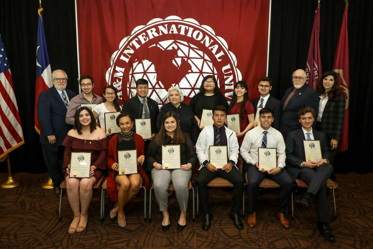 Recipients of the Mr. South Texas scholarship are pictured in a group photo after receiving their scholarship and recognition at the Zaffirini Student Success Center Tuesday.
