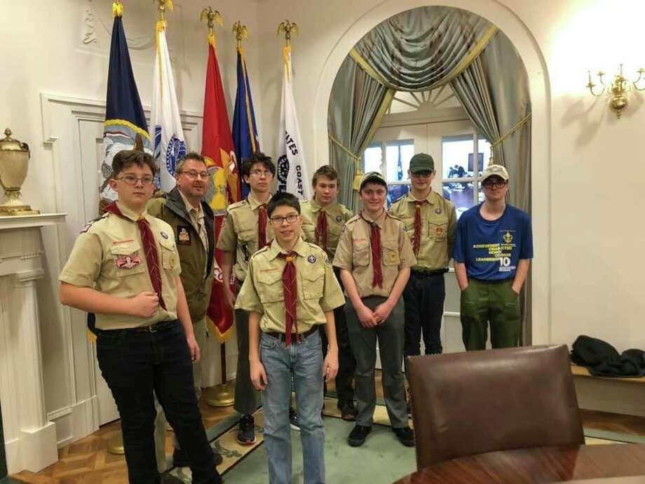 Scouts from Boy Scout Troop 10 visited the Gerald Ford Library in Grand Rapids, as well as the Natural History Museum during a trip taken in February. (Courtesy Photo)