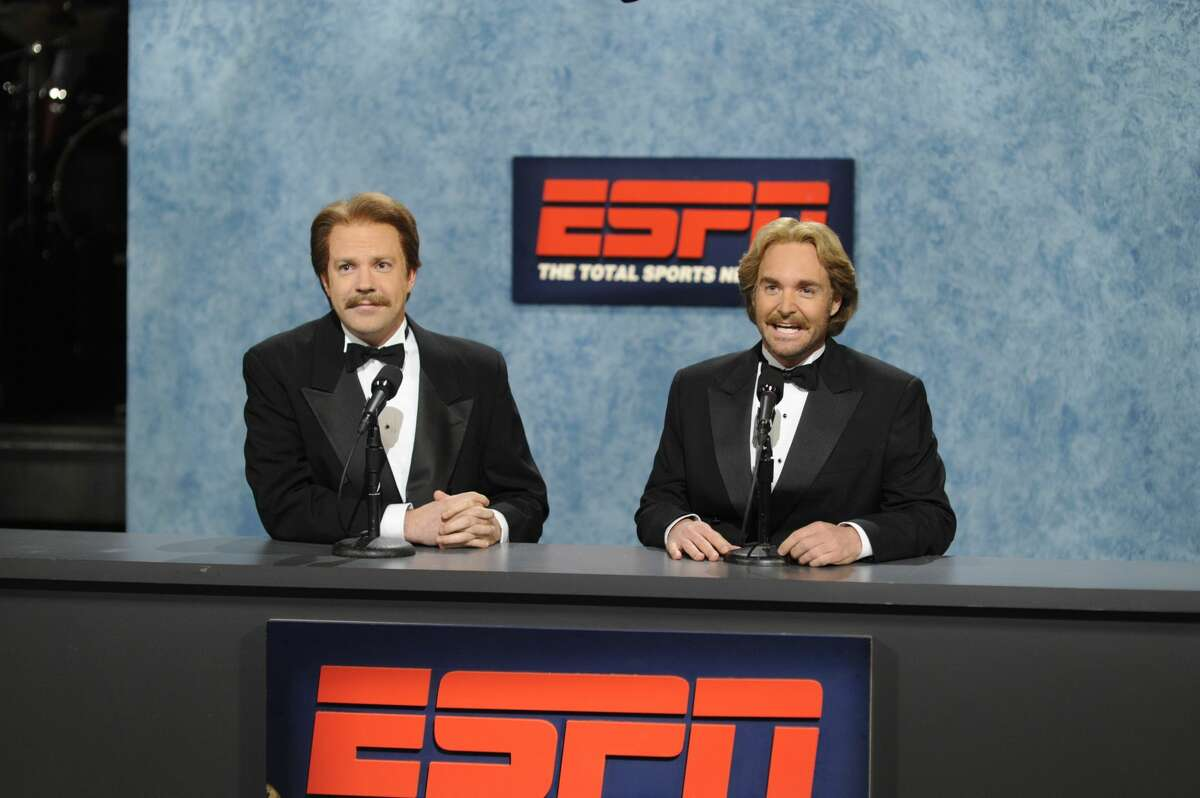 """SATURDAY NIGHT LIVE -- """"Will Ferrell"""" Episode 1619 -- Pictured: (l-r) Jason Sudeikis, Will Forte -- (Photo by: Dana Edelson/NBCU Photo Bank/NBCUniversal via Getty Images via Getty Images)"""