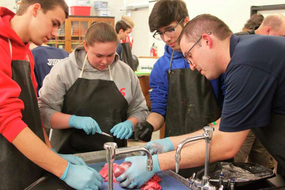Jim Henderson (right) works with Manistee Catholic Central students on showing them how to do a pig heart dissection. The students are studying the circulatory system in their biology class. Henderson has been doing the program with the students for the past three years and is the Little River Casino Resort Risk Manager and a firefighter/EMT. (Ken Grabowski/News Advocate)