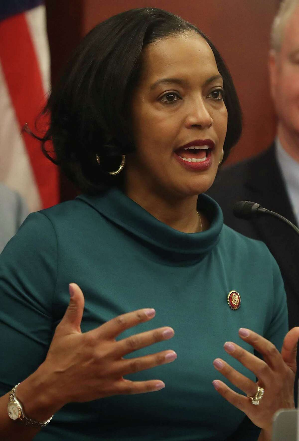 WASHINGTON, DC - JANUARY 30: Rep. Jahana Hayes (D-CT) speaks during an event to introduce legislation called the Social Security 2100 Act. which would increase increase benefits and strengthen the fund, during a news conference on Capitol Hill January 30, 2019 in Washington, DC. (Photo by Mark Wilson/Getty Images)