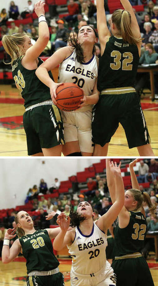 CM's Anna Hall splits Mattoon defenders Jordan Sapp (left) and Hallie Niemerg and puts up a shot in the second half of Monday night's semifinal at the Effingham Class 3A Regional. Photo: Greg Shashack | The Telegraph