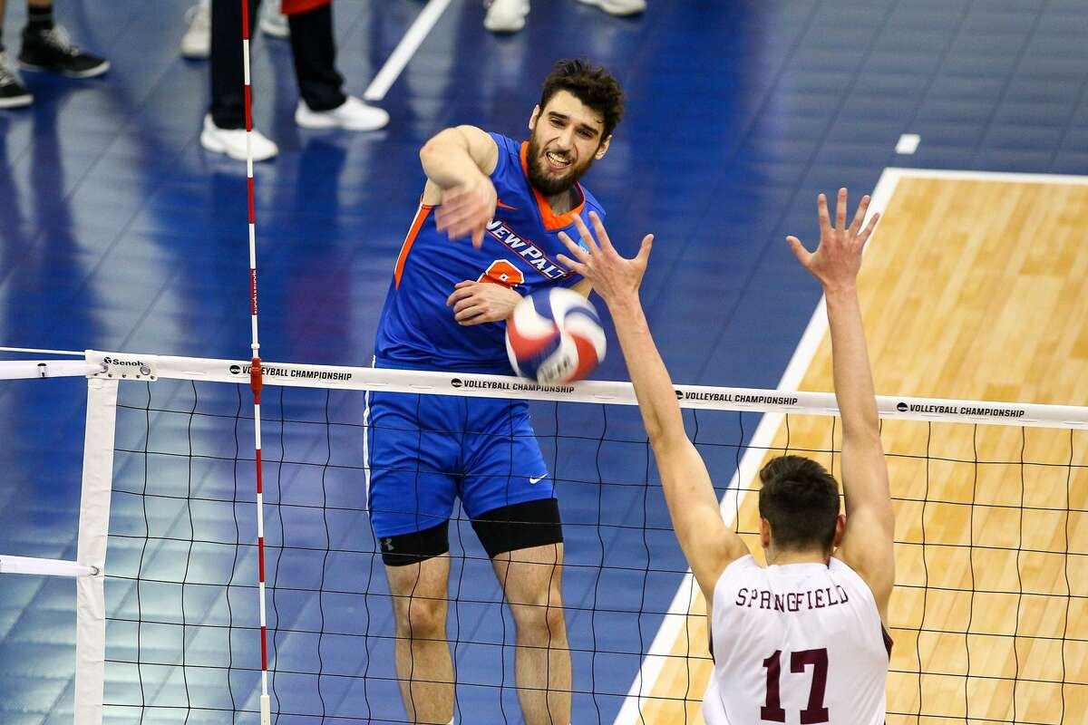 Bethlehem graduate Aaron Carrk of the New Paltz men's volleyball team. (Courtesy of New Paltz Athletic Department)