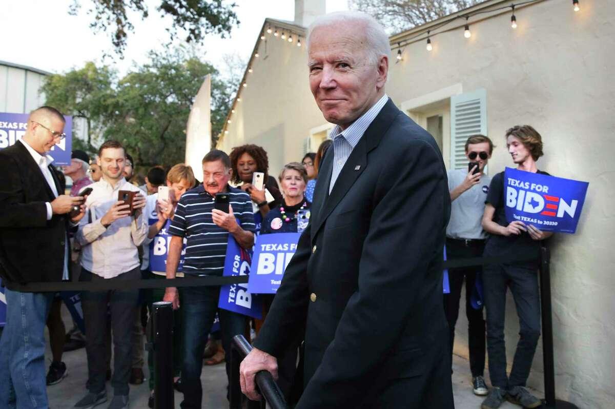 Vice President Joe Biden, Democrat Presidential Candidate waits to be introduced a rally at La Villita in San Antonio on Friday, Dec. 13, 2019.