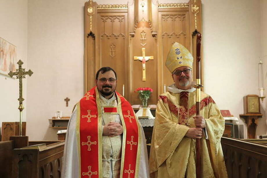Bishop Daniel Martins, right, Bishop of the Episcopal Diocese Springfield, installed The Revered Benjamin Hankinson. Photo: For The Intelligencer