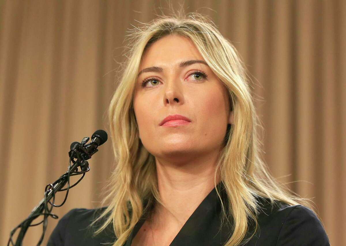 FILE - In this Monday, March 7, 2016, file photo, tennis star Maria Sharapova speakings during a news conference in Los Angeles. Sharapova is retiring from professional tennis at the age of 32 after five Grand Slam titles and time ranked No. 1. She has been dealing with shoulder problems for years. In an essay written for Vanity Fair and Vogue about her decision to walk away from the sport, posted online Wednesday, Feb. 26, 2020, Sharapova asks: a€œHow do you leave behind the only life youa€™ve ever known?a€ (AP Photo/Damian Dovarganes, File)