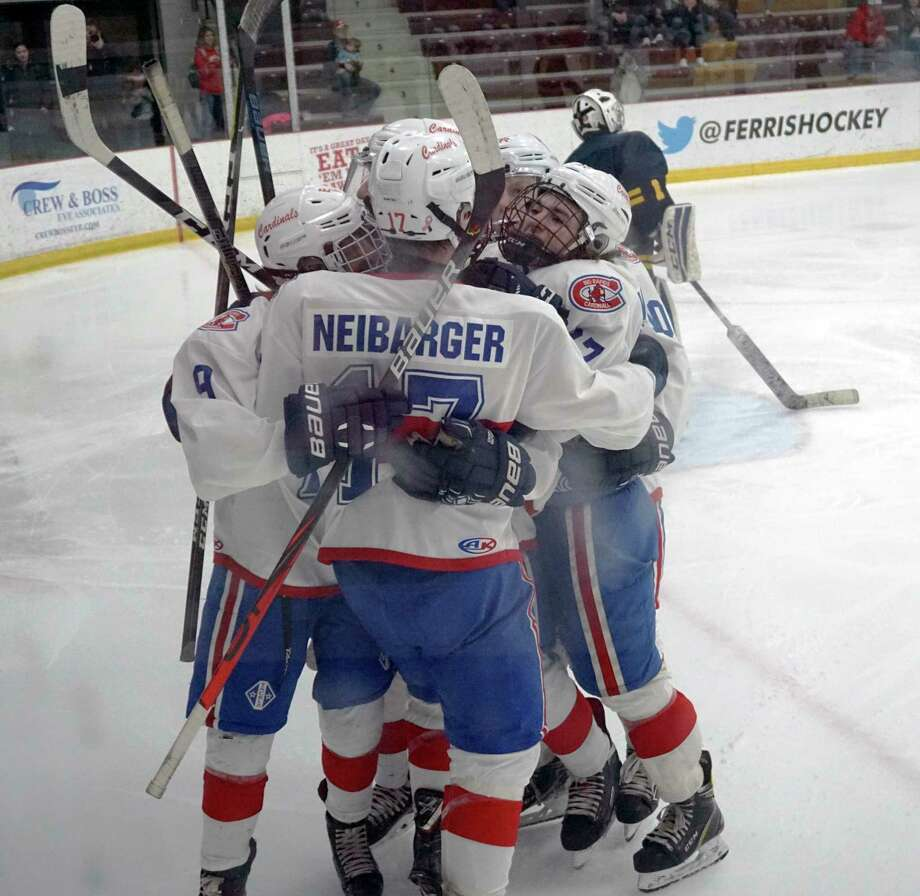 Members of the Big Rapids hockey team celebrate a goal during the second period of a 7-0 win over Cadillac in the first round of the Division 3 Regional Ice Hockey Tournament on Wednesday night at the Ewigleben Ice Arena. (Pioneer photo/Joe Judd)
