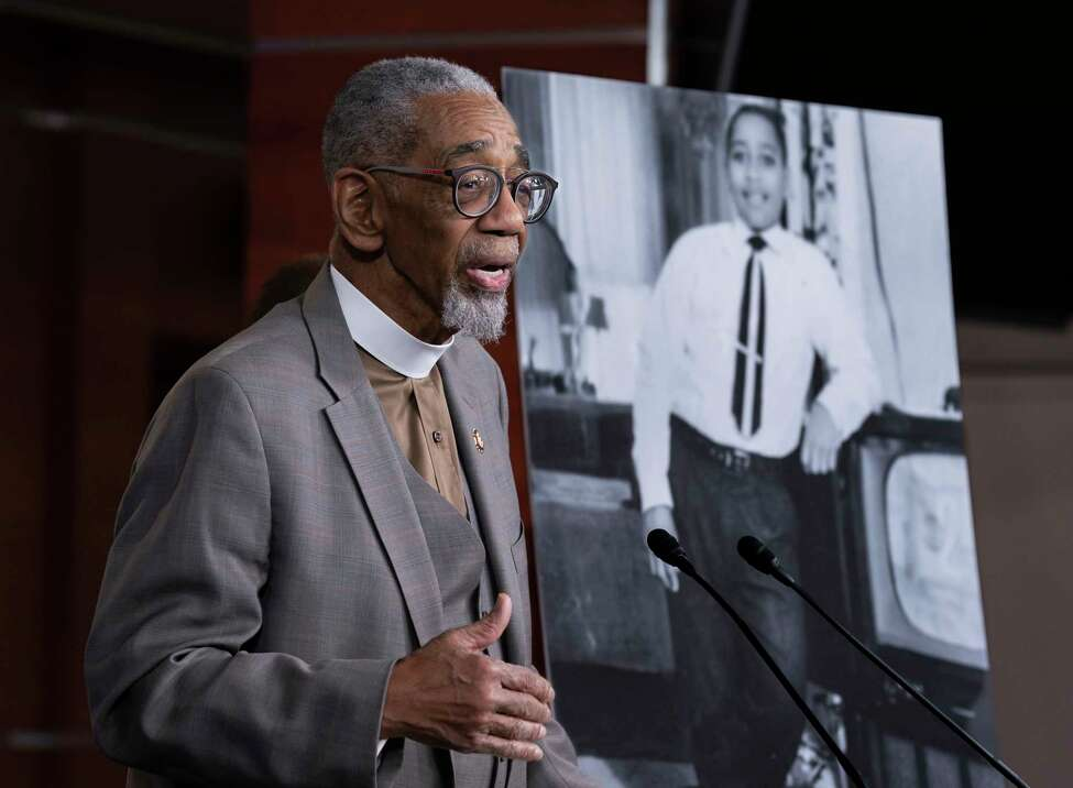 Rep. Bobby Rush, D-Ill., speaks during a news conference about the