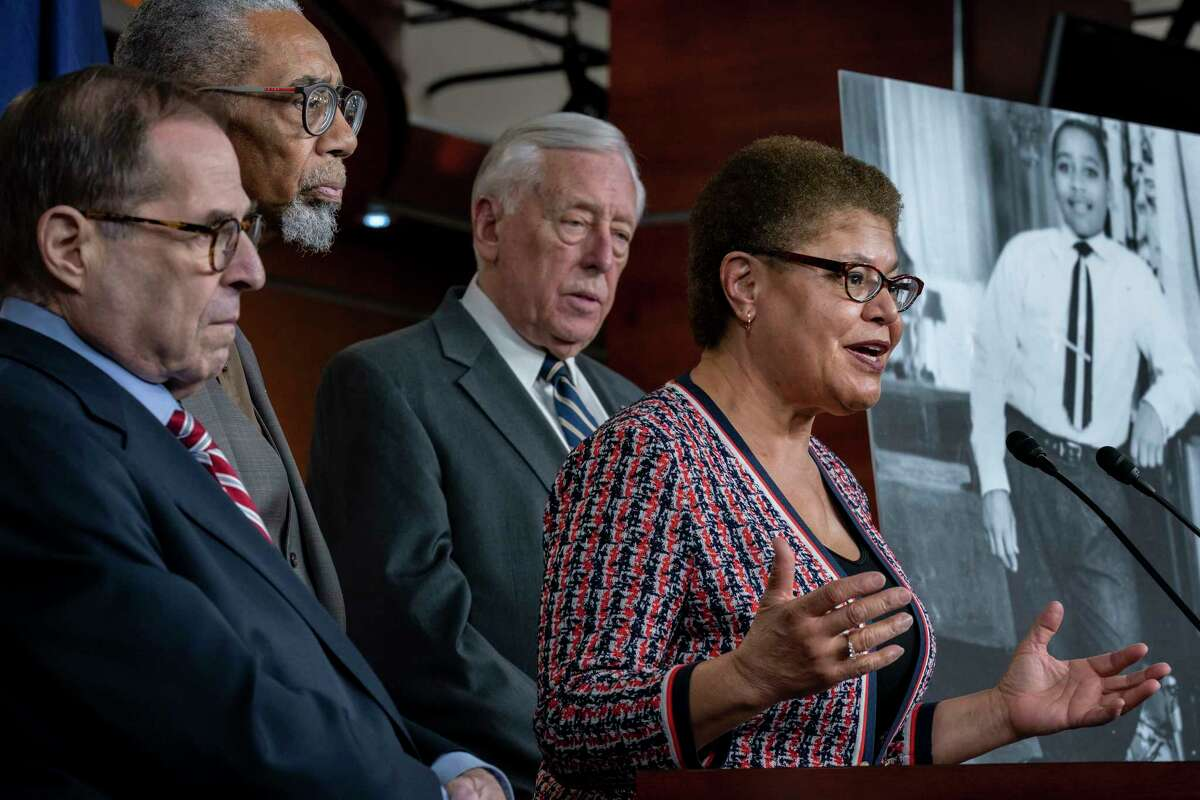From left, House Judiciary Committee Chairman Jerrold Nadler, D-N.Y., Rep. Bobby Rush, D-Ill., House Majority Leader Steny Hoyer, D-Md., and Rep. Karen Bass, D-Calif., chair of the Congressional Black Caucus, hold a news conference to discuss the