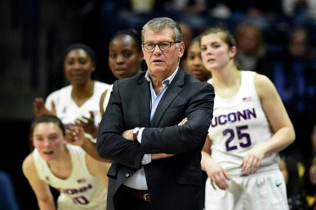 UConn coach Geno Auriemma directs his team during the second half of an NCAA college basketball game against Central Florida Saturday, Feb. 22, 2020, in Storrs.