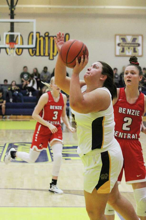 Manistee's Lyndsey Kelley scored a team-high 21 points Wednesday night during the Chippewas' loss to Benzie Central. (Dylan Savela/News Advocate)