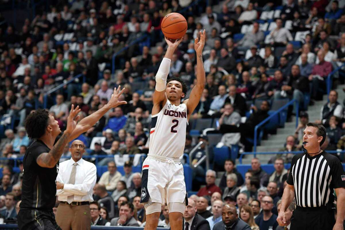 Connecticut's James Bouknight in the first half of an NCAA college basketball game, Wednesday, Feb. 26, 2020, in Hartford, Conn. (AP Photo/Jessica Hill)