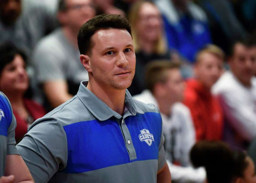 La Salle Institute head coach Josh House during the first half of a boys' Section II Class AA high school basketball game against Christian Brothers Academy Wednesday, Feb. 26, 2020, in Troy, N.Y. (Hans Pennink / Special to the Times Union)