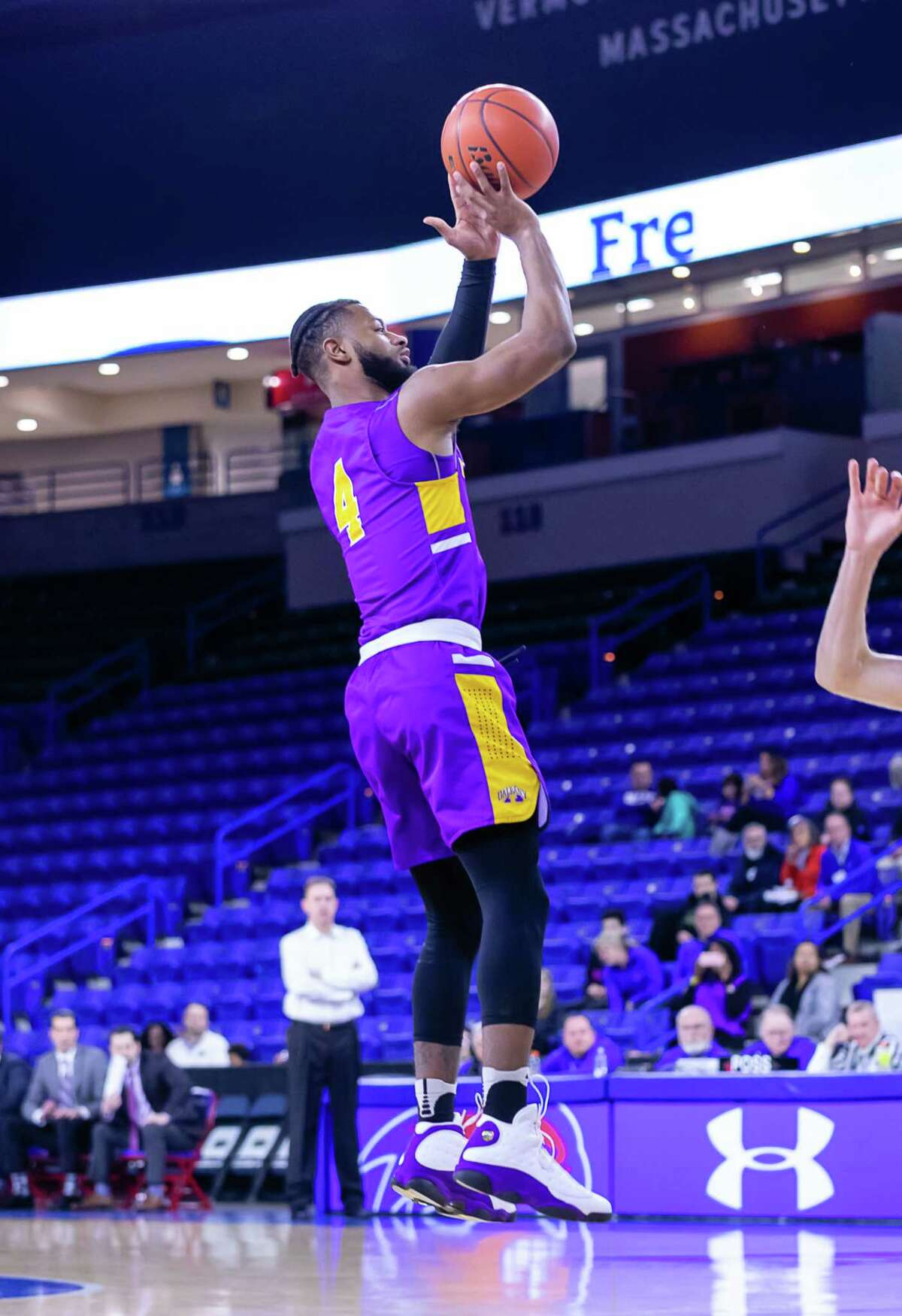 Ahmad Clark puts up a jumper against UMass Lowell during their game on Wednesday, Feb. 26, 2020, at the Tsongas Center. (Courtesy of UAlbany athletics)