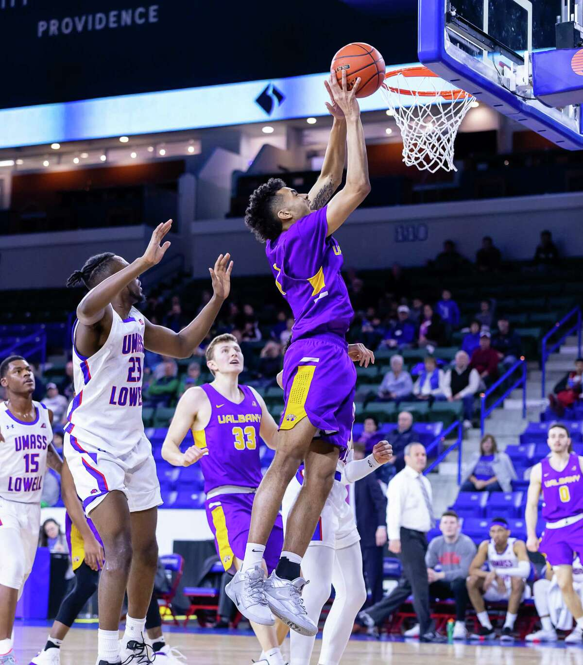 Malachi de Sousa of UAlbany goes to the basket against UMass Lowell during their game on Wednesday, Feb. 26, 2020, at Tsongas Arena. (Courtesy of UAlbany athletics)