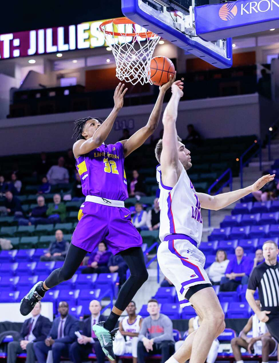 UAlbany's Romani Hansen puts up a shot in the lane against UMass Lowell during their game on Wednesday, Feb. 26, 2020, at Tsongas Arena. (Courtesy of Brent Warzocha)