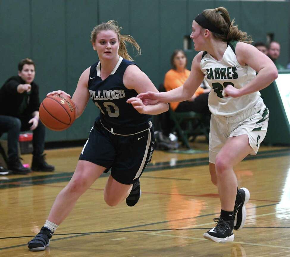 Cobleskill's Jessica Meade drives to the basket against Schalmont's Haley Burchhardt during a game on Wednesday, Feb. 26, 2020 in Rotterdam, N.Y. (Lori Van Buren/Times Union)