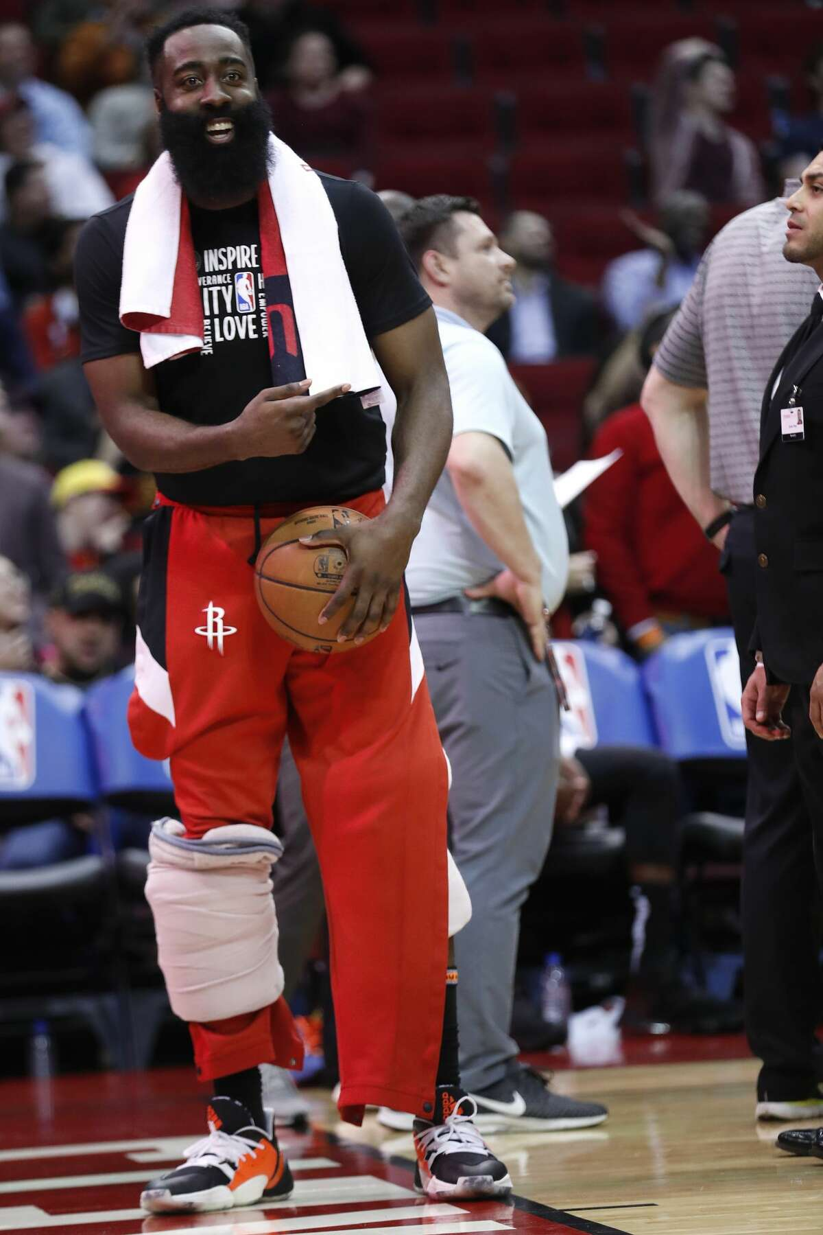 Houston Rockets guard James Harden interacts with the fans during the second half with a big lead over the Memphis Grizzlies of an NBA basketball game on Wednesday, Feb. 26, 2020, at Toyota Center in Houston.