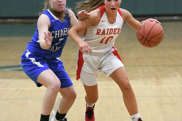 Mechanicville's Chloe Goverski drives to the basket against Ichabod Crane's Haley Ames during a game on Wednesday, Feb. 26, 2020 in Rotterdam, N.Y. (Lori Van Buren/Times Union)