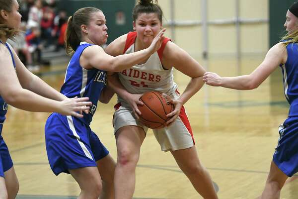 Mechanicville's Amy Disiena drives to the basket against Ichabod Crane's Haley Ames during a game on Wednesday, Feb. 26, 2020 in Rotterdam, N.Y. (Lori Van Buren/Times Union)