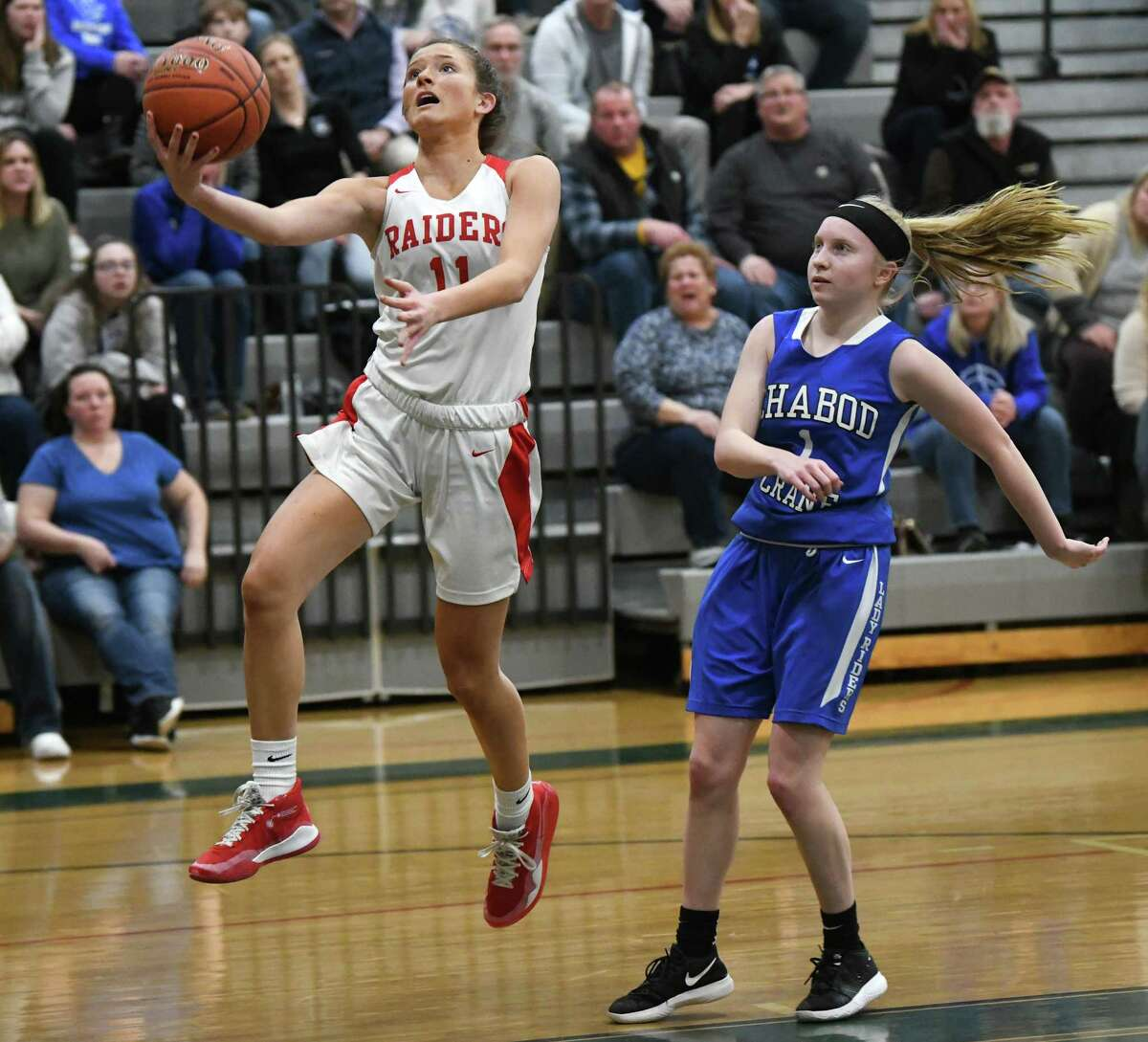 Mechanicville's Charli Goverski makes a layup during a game against Ichabod Crane on Wednesday, Feb. 26, 2020 in Rotterdam, N.Y. (Lori Van Buren/Times Union)