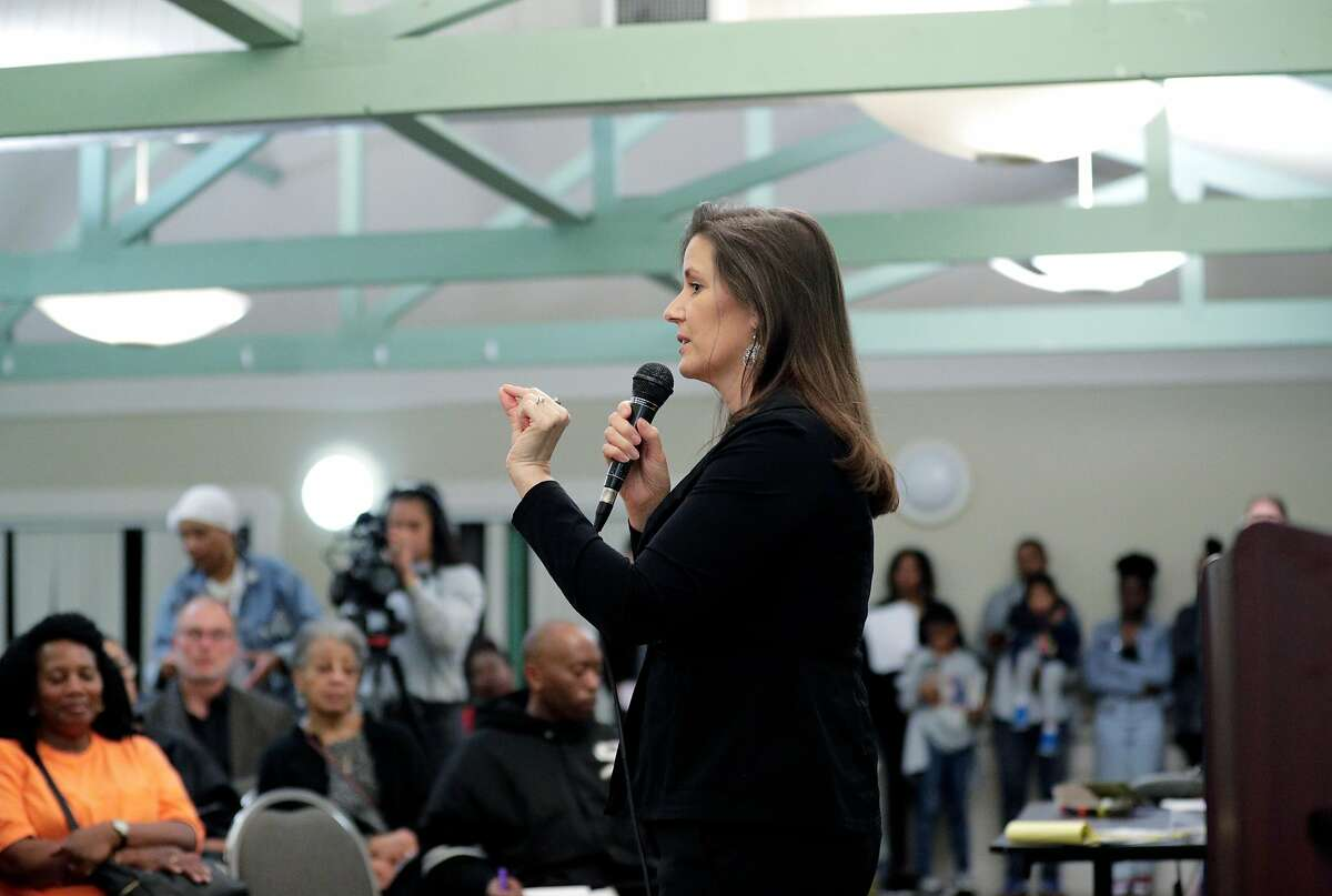 Oakland Mayor Libby Schaaf speaks to the crowd during a town hall meeting by Oakland and state officials to discuss the impact of a toxic chemical, TCE, found on the McClymonds High School campus in Oakland, Calif., on Wednesday, February 26, 2020. McClymonds remains closed and area residents want to know how widespread the contamination is to surrounding schools and homes.