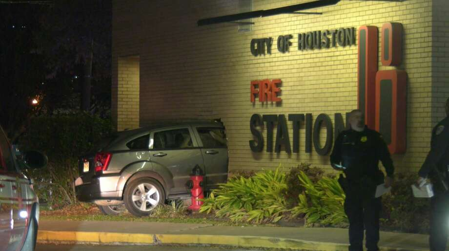 Authorities investigate after a driver crashed into Houston Fire Stataion 18 on Wednesday, Feb. 26, 2020. Photo: OnScene.TV