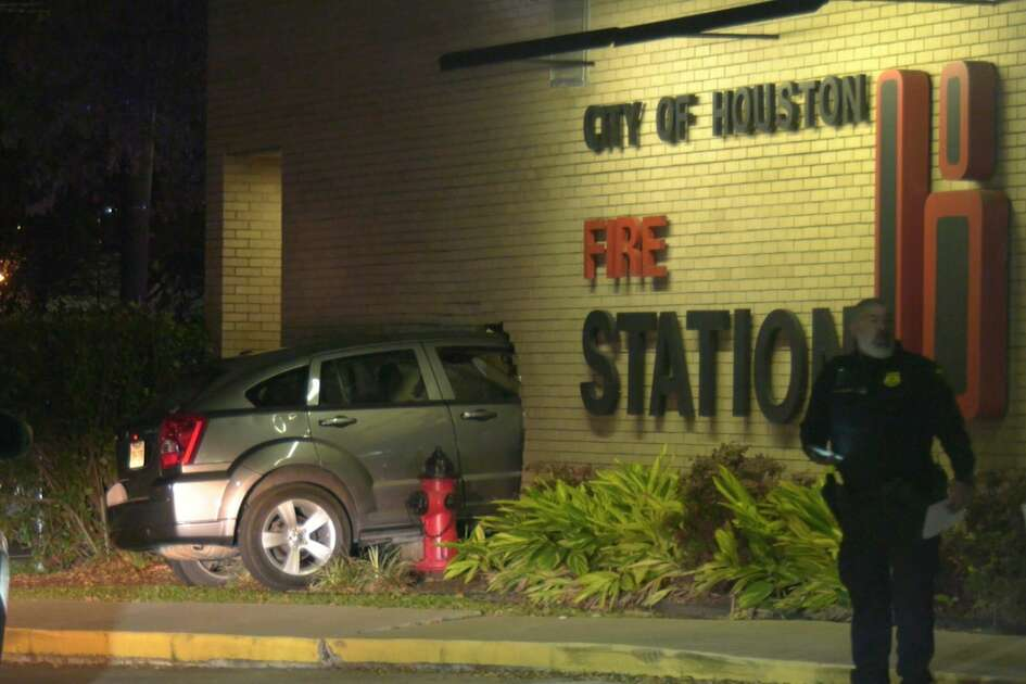 Authorities investigate after a driver crashed into Houston Fire Stataion 18 on Wednesday, Feb. 26, 2020.
