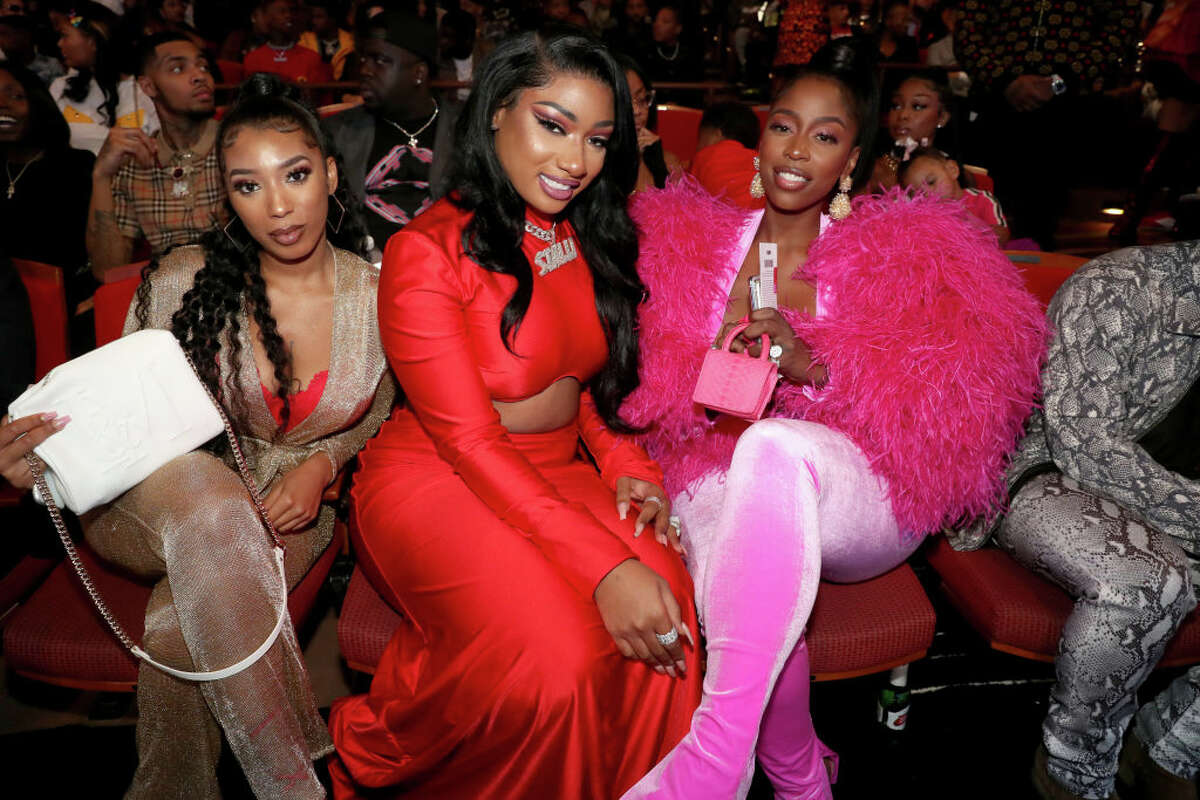 Megan Thee Stallion and Kash Doll attend the BET Hip Hop Awards 2019 at Cobb Energy Center on October 05, 2019 in Atlanta, Georgia. (Photo by Johnny Nunez/Getty Images for BET)