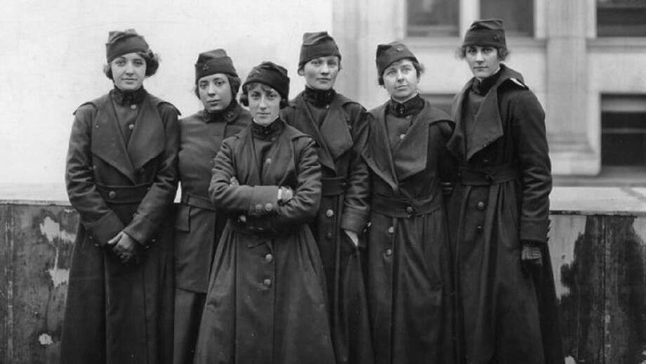 "Some of the 223 women who served as telephone operators in France during World War I. They are the subject of the film ""The Hello Girls"" to be shown at Wilton Library on March 5. Photo: Contributed Photo / / Wilton Bulletin Contributed"
