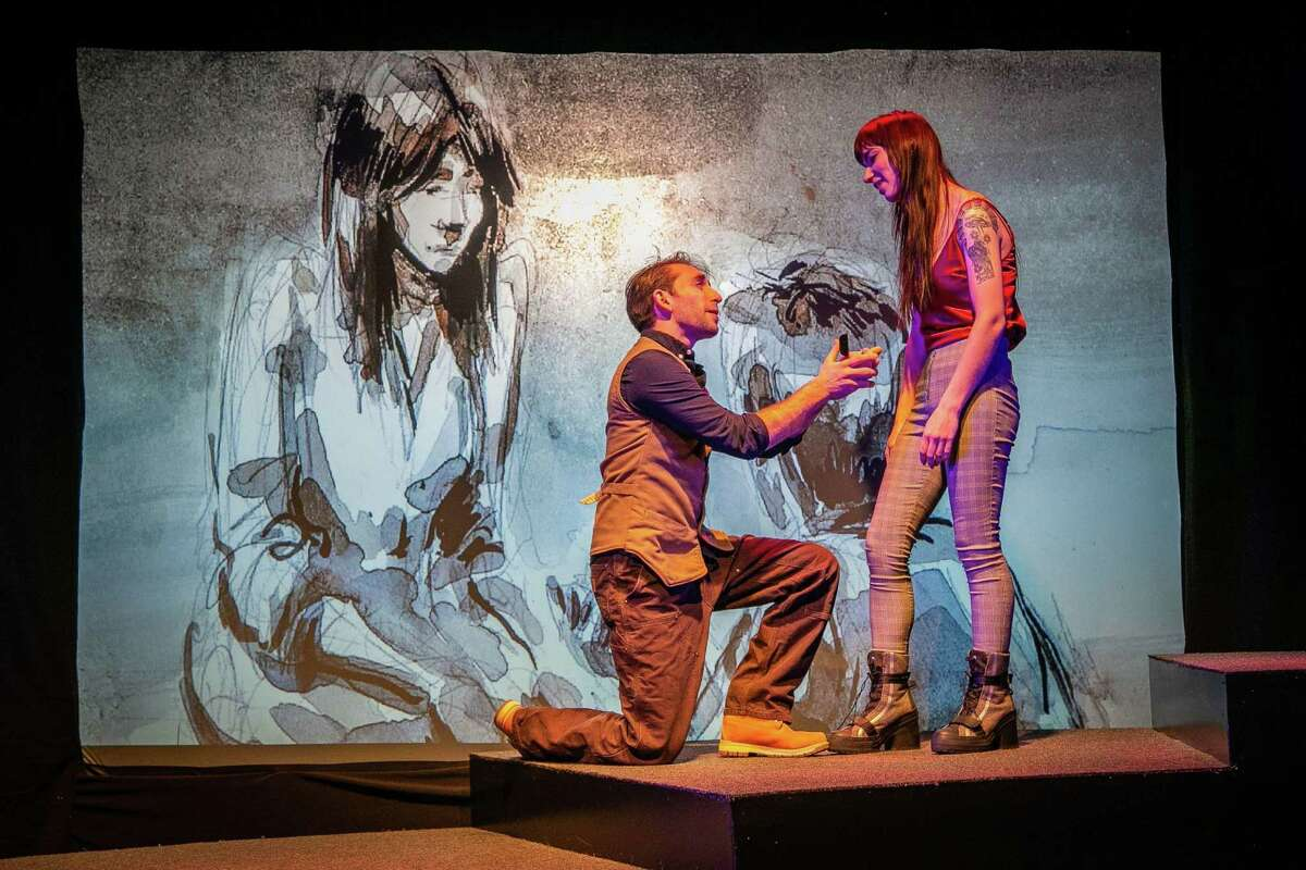 """Matthew Benjamin Horowitz of New Haven and Heather Haneman of Dover Plains, N.Y., star in TheatreWorks' production of """"Constellations."""""""