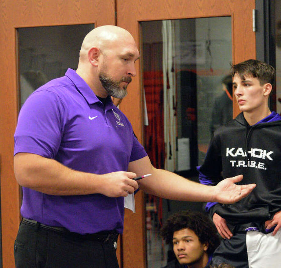 Collinsville coach Joe Bevis recently ended his first season in charge of the wrestling program. He was named the Kahoks varsity football coach on Monday. Photo: Scott Marion|The Intelligencer