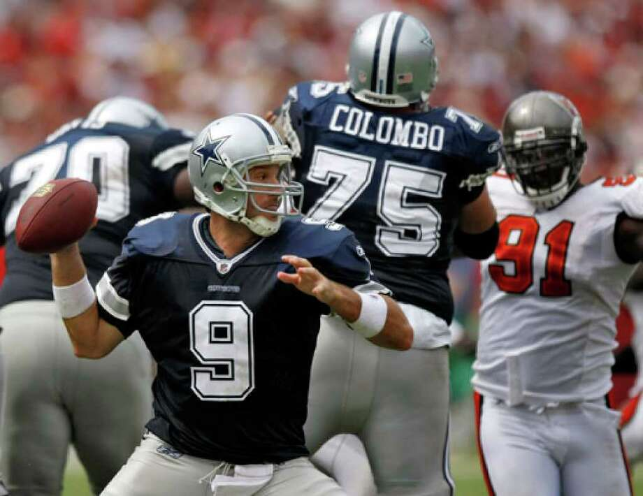 Right tackle Marc Colombo, protecting Tony Romo against the Buccaneers last year, missed seven games in 2009.