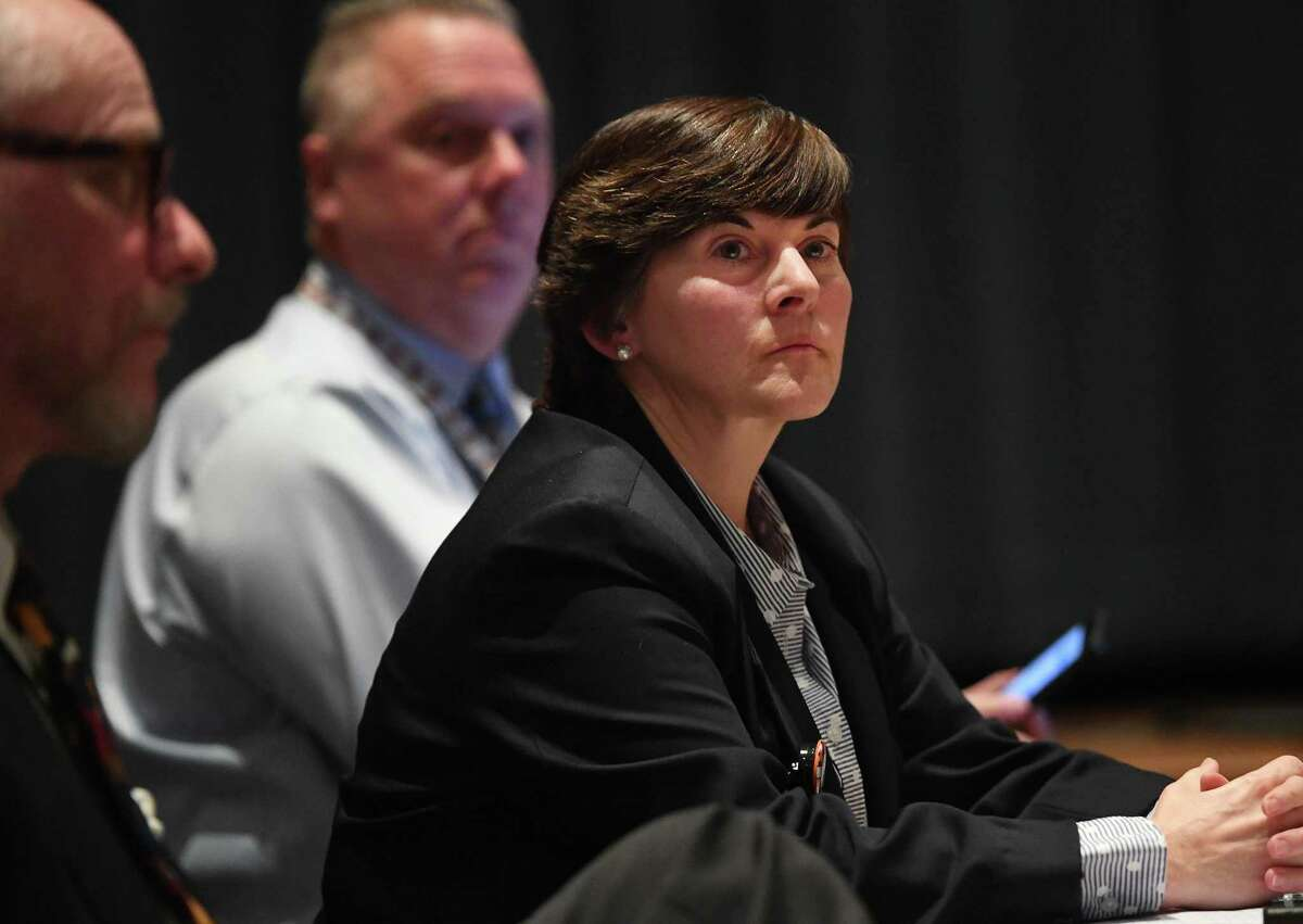 Interim Superintendent Beth Smith, pictured at a Board of Education meeting in February, will be holding in-person meetings with students and parents about the district's fall school reopening plan.