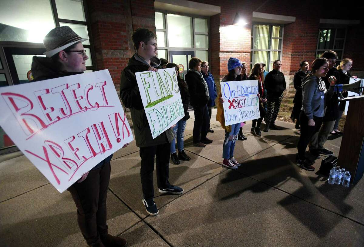 Shelton High students with the group SHS Students Fight for Change protest the appointment of Beth Smith as superintendent on Feb. 26.