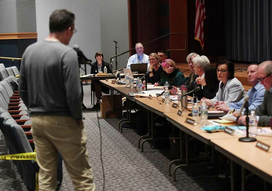 The Shelton Board of Education listens to public comment at its Feb. 26 meeting. Photo: Brian A. Pounds / Hearst Connecticut Media / Connecticut Post