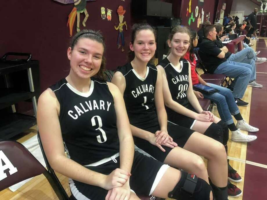 Calvary Baptist seniors (from left) Holland Guisler, Grace Beckmeyer and Kristin Ogden led the Lady Eagles to a district championship. Photo: Submitted Photo