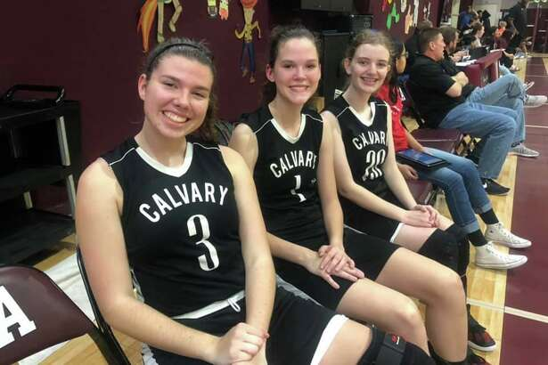 Calvary Baptist seniors (from left) Holland Guisler, Grace Beckmeyer and Kristin Ogden led the Lady Eagles to a district championship.