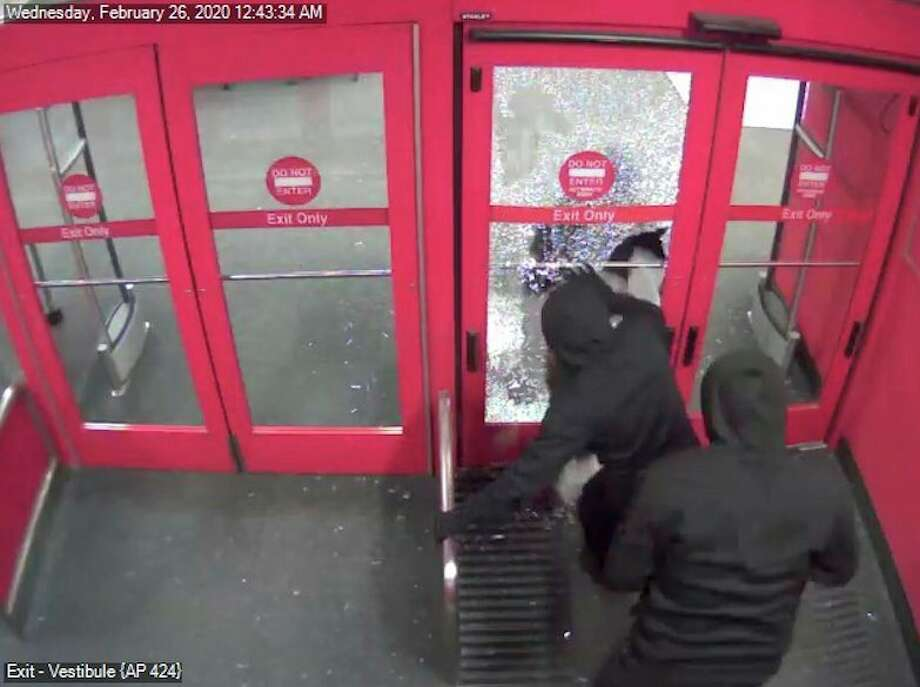 Unknown suspects use rocks to break into the Target department store located at 6820 Eastman Avenue on Feb. 26, 2020. (Photo provided/Midland Police Department).